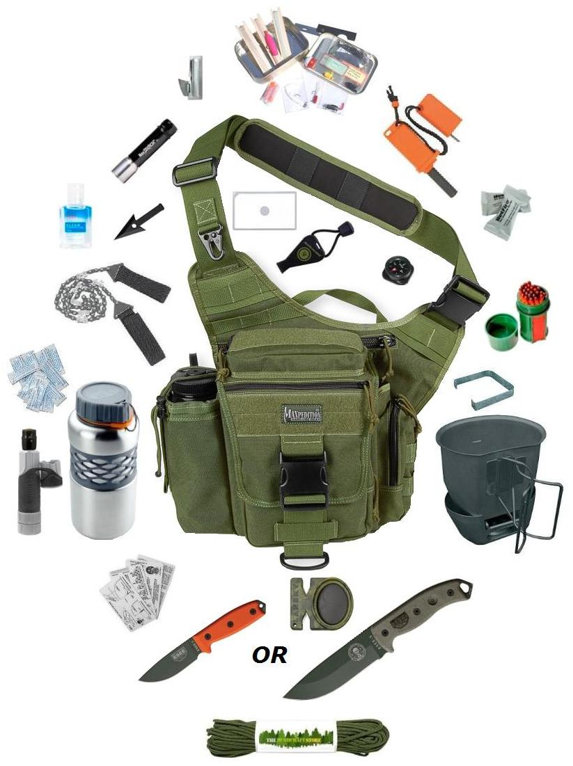 the survival stores maxpedition versipack de luxe go bag the ultimate survival kit. 2543 p Набор выживальщика из 24 предметов